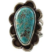 Vintage Navajo Morenci Turquoise and Sterling Ring Size 7.5 to 7.75