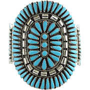 Zuni Turquoise Petit Point Cuff Bracelet Rosette Cluster Signed GAB Sterling Native American Vintage