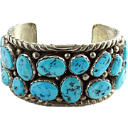 Vintage Native American Navajo Turquoise Cluster Cuff Bracelet Sterling Silver Signed HS 100.4 Grams