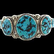 Navajo Julie J. Martinez JJM Turquoise Cuff Bracelet Sterling Silver Native American Vintage