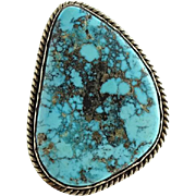 Navajo Morenci Turquoise Ring Vintage Size 8 Native American Gorgeous Stone Vintage