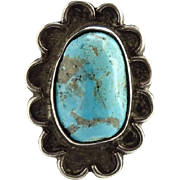 Navajo Turquoise Ring Size 5.5 Signed Sterling Silver Native American Vintage