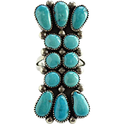 Zuni Artist Julie O. Lahi Sleeping Beauty Turquoise Cluster Ring Size 8 Native American Vintage