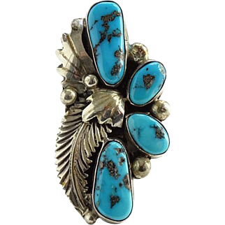Navajo Turquoise Ring Signed Sterling JJM Julia J. Martinez Size 8 Native American Vintage