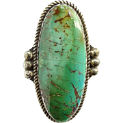 Native American Large Oval Turquoise Ring Hallmarked R Sterling Size 9 Navajo Vintage