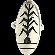 Hopi Harlan Joseph Silver Overlay Corn Ring Size 8.5 Hopi Silvercraft Guild Native American