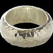 Vintage Designer 925 Sterling Silver Large Hammered Bangle Bracelet Stunner Runway