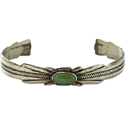 Vintage Native American Sunbell Bell Trading Post Turquoise Cuff Bracelet Sterling Silver C1970s Hallmarked