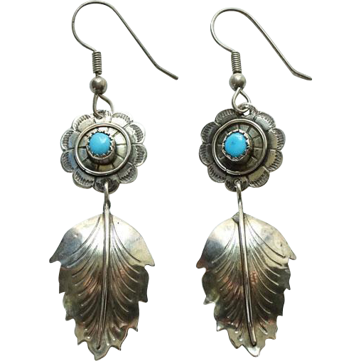 Vintage Navajo Turquoise Concho Pierced Earrings Leaf Dangle Sterling Silver Native American Jewelry