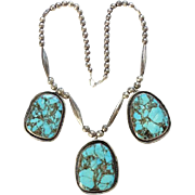 Old Native American Three Pendant Turquoise Necklace with Seamed Sterling Beads Southwestern Jewelry Stunning