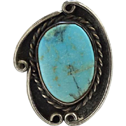 Vintage Turquoise Ring C1970s Native American Navajo Size 6.5 Sterling Silver