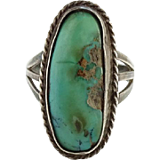 Vintage Long Oval Native American Turquoise Ring Size 8 Southwestern Sterling Silver