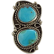 Vintage Double Turquoise Native American Sterling Ring Size 7 Navajo