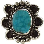 Vintage Native American Turquoise and Sterling Pinky Ring Size 4.5 C1970s Beautiful Stone