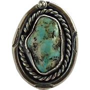 Native American Navajo Turquoise Nugget Ring Size 4.5 Sterling with Quartz Inclusions