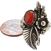 Vintage Navajo Sam P Signed Native American Sterling Coral Ring Size 6.5