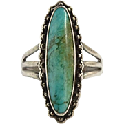 Vintage Native American Turquoise Ring Size 6.5 Hallmarked Sterling Long Oval