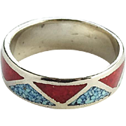 Southwestern Turquoise and Coral Cigar Band Ring Chip Mosaic Inlay Size 11.5 Vintage
