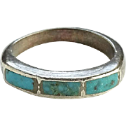 Vintage Southwestern Turquoise Pinky Ring Stacking Size 5 Sterling Silver