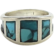 Vintage Southwestern Sterling Ring Chip Mosaic Turquoise CHILD Size 4.75 Small