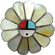 Old Zuni Sunface Brooch Necklace Pendant Turquoise Coral Mother of Pearl Sterling Silver