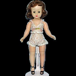 Madame Alexander Brunette Cissette Hard Plastic Doll 9in Wearing Chemise Heels