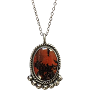Vintage Native American Navajo Petrified Wood Pendant Necklace Sterling Silver