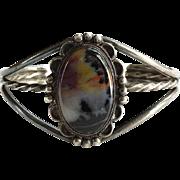 Vintage Native American Navajo Petrified Wood Cuff Bracelet C1940s Sterling Silver