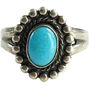 Vintage Native American Bell Trading Post Sterling Turquoise Satellite Ring Size 6