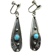 C1970s Navajo Turquoise and Sterling Silver Overlay Screw Back Earrings by Esther Bickle