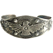 Fred Harvey Era Bell Trading Post Navajo Thunderbird Cuff Bracelet Stamp Decorated Sterling Silver Profusely Decorated