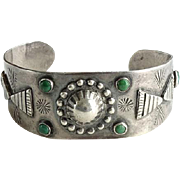 Fred Harvey Era Navajo Green Turquoise Thunderbird Cuff Bracelet Hallmarked Sterling