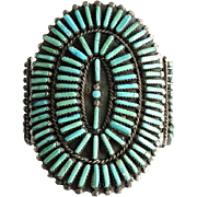 Old Zuni Needlepoint Turquoise Concho Shape Rosette Cluster Bracelet in Sterling Silver