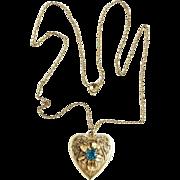 Old Binder Brothers Gold Filled Heart Locket Necklace Pendant Monogrammed Hallmarked Teal Rhinestone