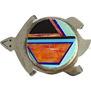 Vintage Zuni Inlay Turtle Pendant Pin Brooch Hallmarked YZ Turquoise Onyx Spiny Oyster Sterling Silver
