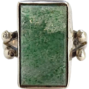 Vintage Taxco Mexico Chrysoprase Ring Size 6.5 Eagle 3 MLV Sterling Silver
