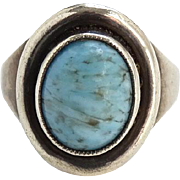 Vintage Southwestern Style Turquoise Sterling Pinky or Child Ring Size 3.5 Marked 925 SHS