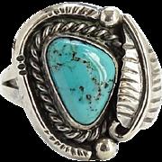 Native American Navajo Turquoise Ring Size 6 Black Matrix Sterling Silver