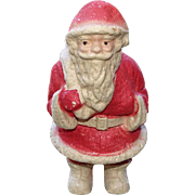 Antique Paper Mache Pulp Santa Claus Candy Container Mica Covered 9 in