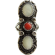Vintage Navajo Red Coral Mother of Pearl Ring Hallmarked S Size 7.5 Native American
