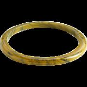 Vintage Bakelite Bangle Spacer Bracelet Marbled Caramel Licorice Tested