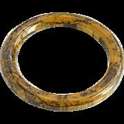 Vintage Bakelite Bangle Bracelet Marbled Dark Chocolate Peanut Butter Swirl Tested
