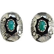 Vintage Southwestern Turquoise Shadowbox Pierced Earrings Stamped Decoration Sterling