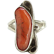 Southwestern Native American Coral Ring Sterling Silver Size 5 Signed Lee