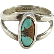 Southwestern Small Sterling Silver and Turquoise Pinky or Child Ring Size 3.5