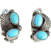 Vintage Native American Turquoise Clip Earrings Hallmarked RB Sterling