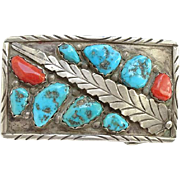 Vintage Marvelyne Cheama Zuni Belt Buckle Morenci Turquoise Red Coral Feather Hallmarked