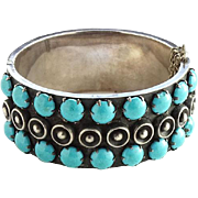 Vintage Taxco Mexico Hinged Turquoise and 925 Sterling Silver Bracelet Eagle Mark Signed