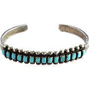 Native American Zuni Corn Row Turquoise Cuff Bracelet Sterling Silver