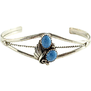 Southwestern Navajo Blue Denim Lapis and Silver Cuff Bracelet Hallmarked Sterling B
